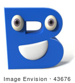 #43676 Royalty-Free (Rf) Illustration Of A 3d Blue Alphabet Letter B Character With Eyes And A Mouth
