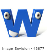 #43677 Royalty-Free (Rf) Illustration Of A 3d Blue Alphabet Letter W Character With Eyes And A Mouth