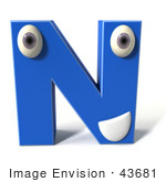 #43681 Royalty-Free (Rf) Illustration Of A 3d Blue Alphabet Letter N Character With Eyes And A Mouth
