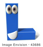 #43686 Royalty-Free (RF) Illustration of a 3d Blue Alphabet Letter L Character With Eyes And A Mouth by Julos