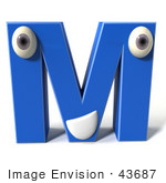 #43687 Royalty-Free (RF) Illustration of a 3d Blue Alphabet Letter M Character With Eyes And A Mouth by Julos