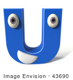 #43690 Royalty-Free (RF) Illustration of a 3d Blue Alphabet Letter U Character With Eyes And A Mouth by Julos