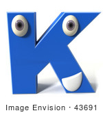 #43691 Royalty-Free (Rf) Illustration Of A 3d Blue Alphabet Letter K Character With Eyes And A Mouth