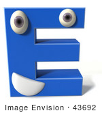 #43692 Royalty-Free (Rf) Illustration Of A 3d Blue Alphabet Letter E Character With Eyes And A Mouth