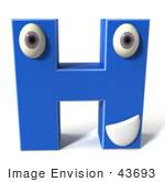 #43693 Royalty-Free (Rf) Illustration Of A 3d Blue Alphabet Letter H Character With Eyes And A Mouth