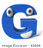 #43696 Royalty-Free (RF) Illustration of a 3d Blue Alphabet Letter G Character With Eyes And A Mouth by Julos