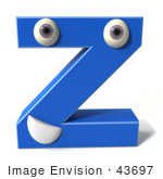 #43697 Royalty-Free (Rf) Illustration Of A 3d Blue Alphabet Letter Z Character With Eyes And A Mouth