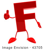 #43705 Royalty-Free (Rf) Illustration Of A 3d Red Letter F Character With Arms And Legs Giving The Thumbs Up