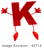 #43713 Royalty-Free (Rf) Illustration Of A 3d Red Letter K Character With Arms And Legs