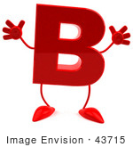#43715 Royalty-Free (Rf) Illustration Of A 3d Red Letter B Character With Arms And Legs