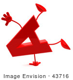 #43716 Royalty-Free (Rf) Illustration Of A 3d Red Letter A Character With Arms And Legs Doing A Cartwheel