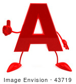 #43719 Royalty-Free (RF) Illustration of a 3d Red Letter A Character With Arms And Legs Giving The Thumbs Up by Julos