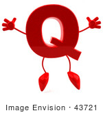 #43721 Royalty-Free (Rf) Illustration Of A 3d Red Letter Q Character With Arms And Legs