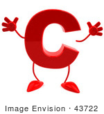 #43722 Royalty-Free (Rf) Illustration Of A 3d Red Letter C Character With Arms And Legs