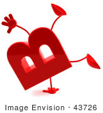 #43726 Royalty-Free (Rf) Illustration Of A 3d Red Letter B Character With Arms And Legs Doing A Cartwheel