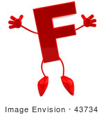 #43734 Royalty-Free (Rf) Illustration Of A 3d Red Letter F Character With Arms And Legs