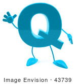 #43739 Royalty-Free (Rf) Illustration Of A 3d Turquoise Letter Q Character With Arms And Legs