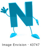 #43747 Royalty-Free (RF) Illustration of a 3d Turquoise Letter N Character With Arms And Legs by Julos