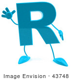 #43748 Royalty-Free (Rf) Illustration Of A 3d Turquoise Letter R Character With Arms And Legs