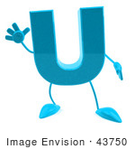#43750 Royalty-Free (Rf) Illustration Of A 3d Turquoise Letter U Character With Arms And Legs