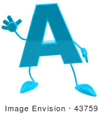#43759 Royalty-Free (RF) Illustration of a 3d Turquoise Letter A Character With Arms And Legs by Julos