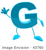 #43760 Royalty-Free (Rf) Illustration Of A 3d Turquoise Letter G Character With Arms And Legs