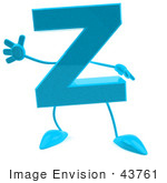 #43761 Royalty-Free (Rf) Illustration Of A 3d Turquoise Letter Z Character With Arms And Legs