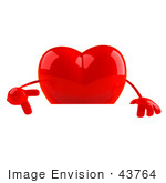 #43764 Royalty-Free (RF) Illustration of a Romantic 3d Red Love Heart Mascot Pointing Down At And Standing Behind A Blank Sign by Julos