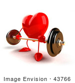 #43766 Royalty-Free (Rf) Illustration Of A Romantic 3d Red Love Heart Mascot Lifting A Barbell - Version 3