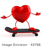 #43768 Royalty-Free (Rf) Illustration Of A Romantic 3d Red Love Heart Mascot Skateboarding - Version 1