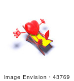 #43769 Royalty-Free (Rf) Illustration Of A Romantic 3d Red Love Heart Mascot Sun Bathing In A Chair - Version 5
