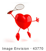 #43770 Royalty-Free (Rf) Illustration Of A Romantic 3d Red Love Heart Mascot Playing Tennis - Version 2