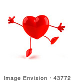 #43772 Royalty-Free (Rf) Illustration Of A Romantic 3d Red Love Heart Mascot Jumping - Version 2