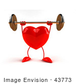 #43773 Royalty-Free (Rf) Illustration Of A Romantic 3d Red Love Heart Mascot Lifting A Barbell - Version 5