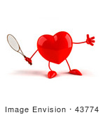 #43774 Royalty-Free (Rf) Illustration Of A Romantic 3d Red Love Heart Mascot Playing Tennis - Version 1