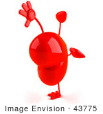 #43775 Royalty-Free (Rf) Illustration Of A Romantic 3d Red Love Heart Mascot Doing A Cartwheel - Version 3
