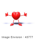 #43777 Royalty-Free (Rf) Illustration Of A Romantic 3d Red Love Heart Mascot Holding His Arms Open - Version 1