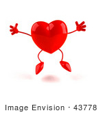 #43778 Royalty-Free (Rf) Illustration Of A Romantic 3d Red Love Heart Mascot Jumping - Version 1