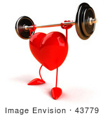 #43779 Royalty-Free (Rf) Illustration Of A Romantic 3d Red Love Heart Mascot Lifting A Barbell - Version 4