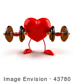 #43780 Royalty-Free (Rf) Illustration Of A Romantic 3d Red Love Heart Mascot Strength Training With Dumbbells - Version 1