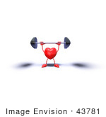 #43781 Royalty-Free (Rf) Illustration Of A Romantic 3d Red Love Heart Mascot Lifting A Barbell - Version 7