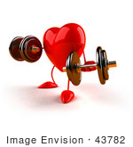 #43782 Royalty-Free (Rf) Illustration Of A Romantic 3d Red Love Heart Mascot Strength Training With Dumbbells - Version 2