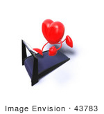 #43783 Royalty-Free (Rf) Illustration Of A Romantic 3d Red Love Heart Mascot Running On A Treadmill - Version 6