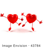#43784 Royalty-Free (Rf) Illustration Of Two Happy 3d Red Love Heart Characters Jumping - Version 2