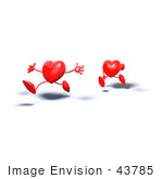 #43785 Royalty-Free (Rf) Illustration Of Two 3d Red Love Heart Characters Running - Version 1