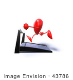 #43786 Royalty-Free (Rf) Illustration Of A Romantic 3d Red Love Heart Mascot Running On A Treadmill - Version 5