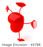 #43788 Royalty-Free (Rf) Illustration Of A Romantic 3d Red Love Heart Mascot Doing A Cartwheel - Version 2