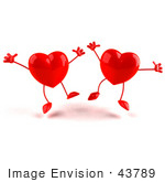 #43789 Royalty-Free (Rf) Illustration Of Two Happy 3d Red Love Heart Characters Jumping - Version 1