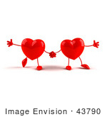 #43790 Royalty-Free (Rf) Illustration Of Two 3d Red Love Heart Characters Holding Hands
