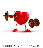#43791 Royalty-Free (Rf) Illustration Of A Romantic 3d Red Love Heart Mascot Strength Training With Dumbbells - Version 3